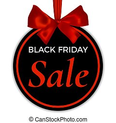 Black friday sale card, round banner, with red ribbon and realistic bow, isolated on white background. Vector brochure.