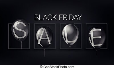 Black friday sale concept with black balloons. Vector illustration