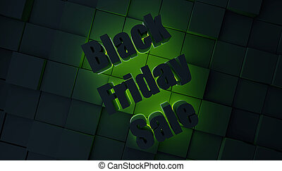 Black friday sale concept with green light