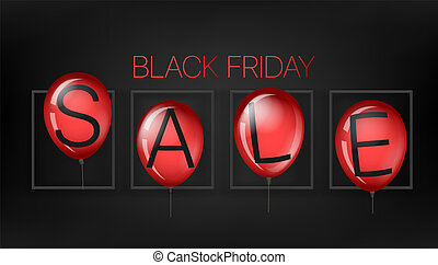 Black friday sale concept with red balloons. Vector illustration