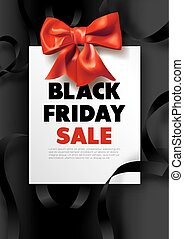 Black Friday sale dark promotional poster with red bow
