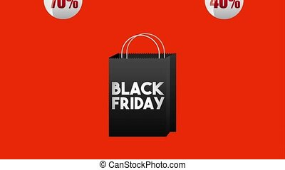 black friday sale - dark shopping bag stickers discount...