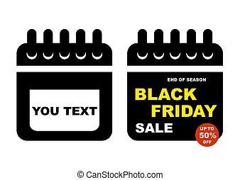 Black Friday sale design elements. The calendar. Vector illustration