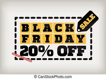Black Friday sale design template. Black Friday banner. 20% off