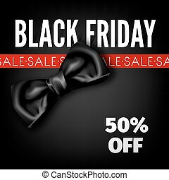 Black Friday sale discount fashion promo red bow vector advertising shop poster