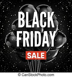 Black Friday sale discount promo balloons red ribbon vector advertising shop poster