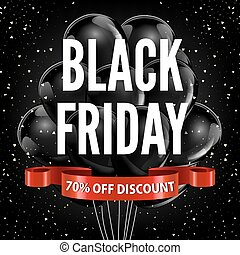 Black Friday sale discount promo balloons red ribbon vector...