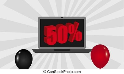 black friday sale - flying balloons celebration laptop 50...