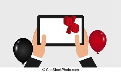 black friday sale - flying balloons hand holds tablet...