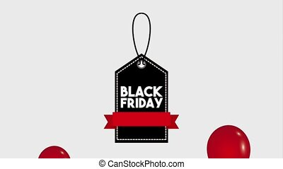 black friday sale - flying red balloons price tag black...