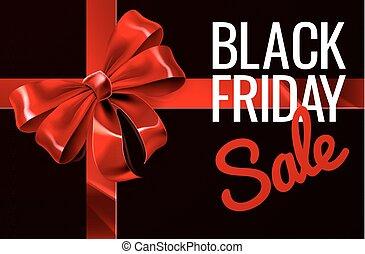Black Friday Sale Gift Ribbon Bow Sign