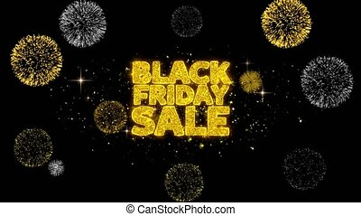Black Friday Sale Golden Text Blinking Particles with Golden...