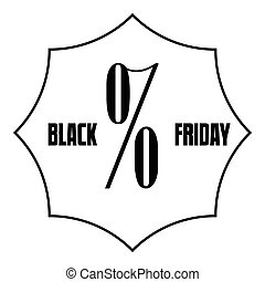 Black Friday sale icon, outline style