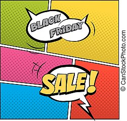 Black Friday Sale illustration in comic book style. Speech bubbles with Black Friday Sale text on colored halftone background.