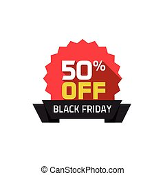 Black Friday sale label, 50 percentage off special deal badge