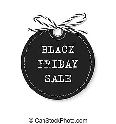 Black friday sale label with bakers twine rope bow on white...