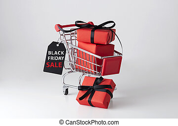 Black friday sale label with shopping cart