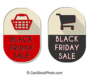 black friday sale labels with shopping basket and cart