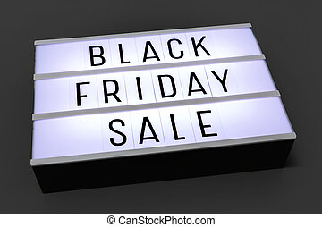 Black friday sale lightbox on dark background