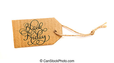 Black Friday Sale message sign on brown paper sale tag on white background