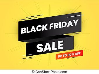 Black friday sale on black ribbon and yellow background