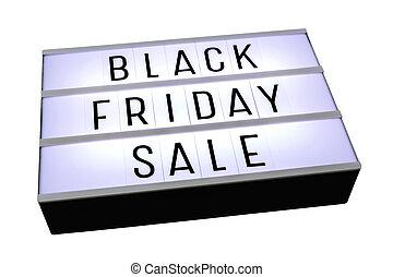Black friday sale on lightbox isolated on white