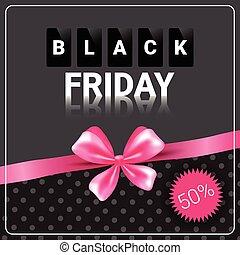Black Friday Sale Poster Background Pink Ribbon Design...