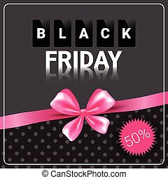 Black Friday Sale Poster Background Pink Ribbon Design...