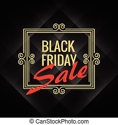 black friday sale poster with artistic frame decoration on black background