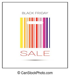 Black Friday Sale Poster With Colorful Bar Code On White Background Holiday Shopping Poster Design