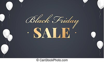 Black Friday Sale Poster with shiny balloons on dark Background with lettering. Vector illustration.
