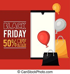 black friday sale poster with smartphone and shopping bags