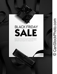 Black friday sale, poster with text sample and presents vector.