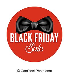 Black Friday sale promotional logotype with bow of silk...