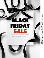 Black Friday sale promotional poster with silk bow and...