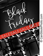 Black Friday sale promotional poster with decorated presents