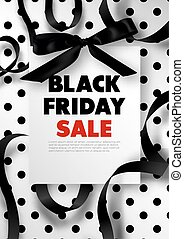 Black Friday sale promotional poster with silk bow, swirls...
