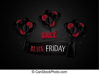 Black friday sale. Red and black balloons hanging with banner background