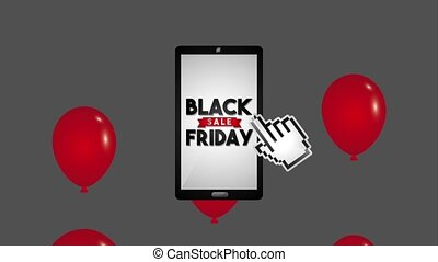 black friday sale - red balloons smartphone clicking sale...