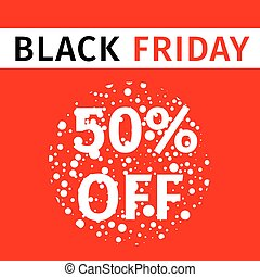 Black Friday sale red banner with a discount percentage