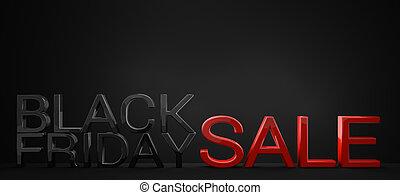 black friday sale red black 3d render