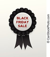 Black Friday Sale Ribbon Award badge on background