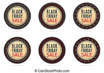 Black Friday Sale. Round Sticker with Advertising of Black Friday Day with black, gold and red color