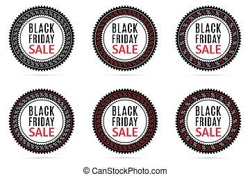Black Friday Sale. Round Sticker with Advertising of Black Friday Day with black, white and red color