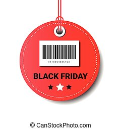Black Friday Sale Round Tag With Bar Code Isolated On White Background