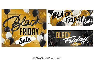 Black Friday Sale set of posters or flyers design with balloons and confetti. Vector illustration. Place for text.