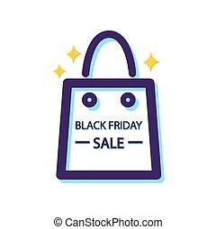 Black Friday sale. Shopping bag icon. Vector