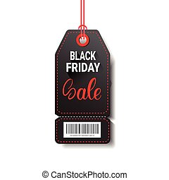 Black Friday Sale Shopping Tag With Bar Code Isolated On White Background
