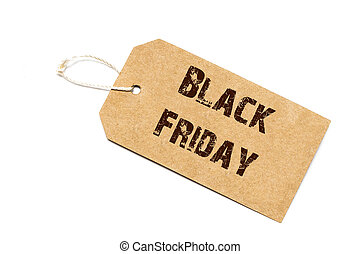 Black Friday sale sign - a paper price tag with a twine isolated on white