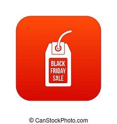 Black Friday sale tag icon digital red
